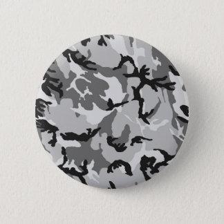 Grey White Black Camouflage 2 Inch Round Button