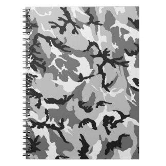 Grey White Black Camouflage Notebook