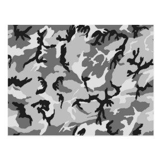 Grey White Black Camouflage Postcard