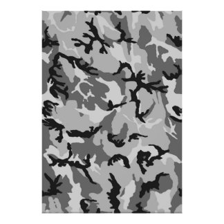 Grey White Black Camouflage Poster
