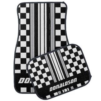 Grey, White & Black Checks & Stripes | Personalize Car Liners