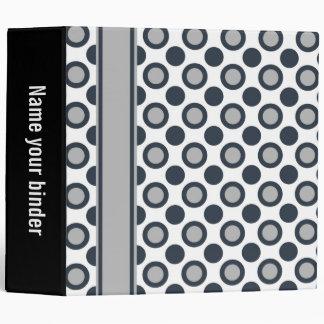 """Grey White Black Polka Dots 3 Ring  2"""" Binder"""