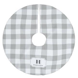 Grey & White Buffalo Plaid Monogram Brushed Polyester Tree Skirt