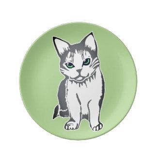 Grey White Cat Green Decorative Porcelain Plate