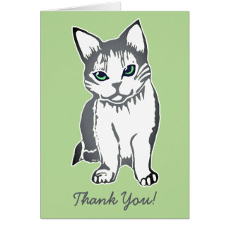 Grey & White Cat Light Green Thank You Card