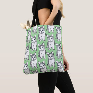 Grey White Cats Pattern Light Green Tote Bag