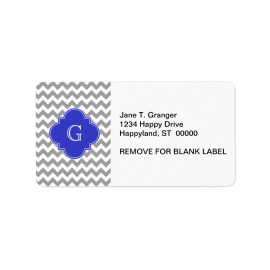 Grey White Chevron Cobalt Blue Quatrefoil Monogram Label