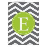 Grey White Chevron Green Monogram