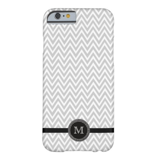 Grey white chevron monogram iPhone 6 case
