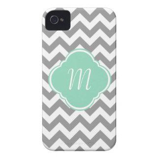 Grey White Chevron Stripe Custom Monogram iPhone 4 Cover