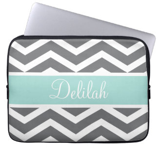 Grey White Chevron Teal Name Laptop Sleeve