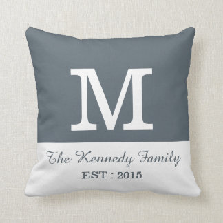 Grey White Colour Block Reversible Family Monogram Throw Pillow