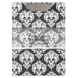 Grey & White Damask Chic Elegant Glam Personalized Clipboard