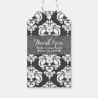 Grey & White Damask Vintage Wedding Event Favor Gift Tags