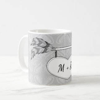 Grey White Doodle Art Heart Arrow Banner Wedding Coffee Mug