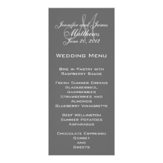 Grey White Elegant Monogram Wedding Menu Cards Full Color Rack Card