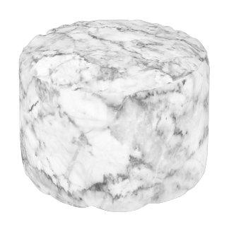 Grey & White Faux Marble Print Pouf