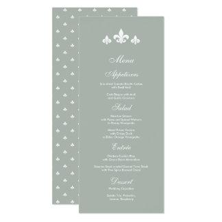 Grey | White Fleur-de-lis Wedding  Menu Cards
