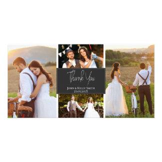 Grey White Four Photo Wedding Thank You Photo Card