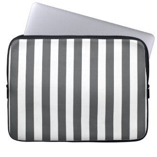 Grey White Fun Bold Stripes Pattern Laptop Sleeve