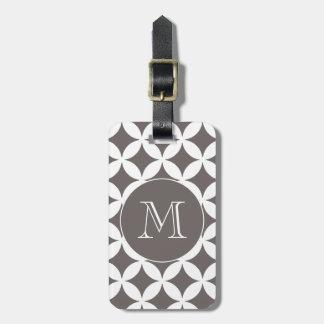 Grey White Geometric Pattern Custom Monogram Luggage Tag