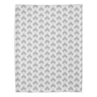 Grey & White gingham chevron pattern Duvet Cover