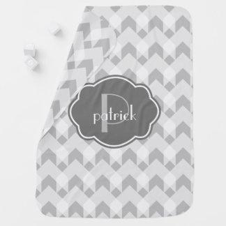 Grey & White gingham  chevron, w Monogram Stroller Blanket