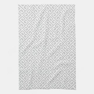 Grey & White Greek Key Pattern Kitchen Towel