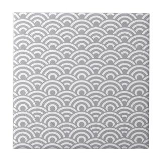 Grey White Japanese Wave Pattern Ceramic Tiles