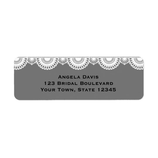 Grey, White Lace Return Address Label