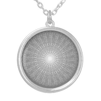 Grey White Lace Roundel Lacy Pattern Gray Silver Plated Necklace