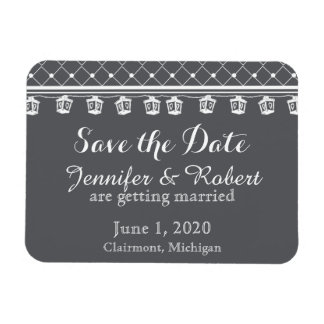 Grey White Lattice and Light Wedding Save the Date Rectangular Photo Magnet