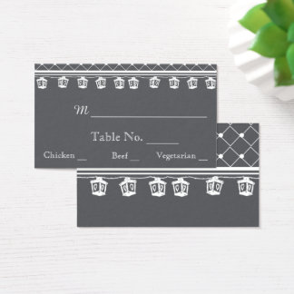Grey White Lattice and Lights Wedding Place Cards