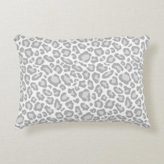 Grey White Leopard Print Accent Pillow