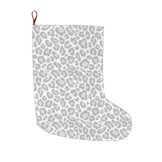 Grey White Leopard Print Large Christmas Stocking