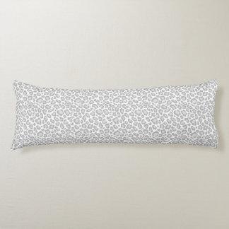 Grey White Leopard Print Body Pillow