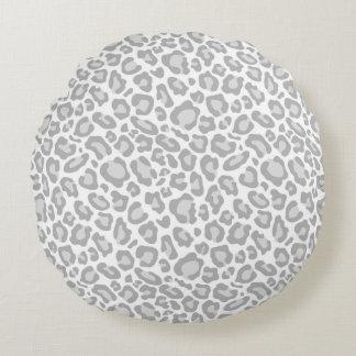 Grey White Leopard Print Round Pillow