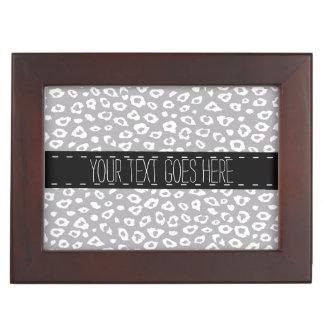 Grey White Leopard Print Keepsake Box