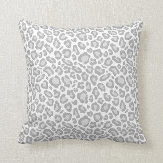 Grey White Leopard Print Throw Pillow