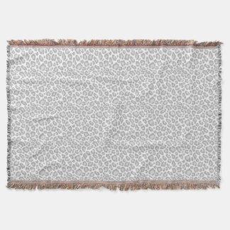 Grey White Leopard Print Throw Blanket