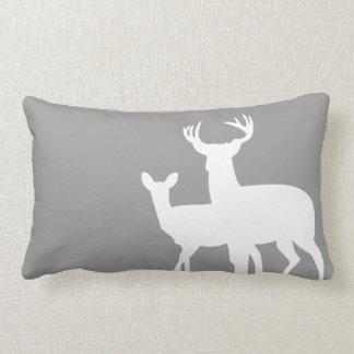 Grey White Male Female Deer Lumbar Pillow