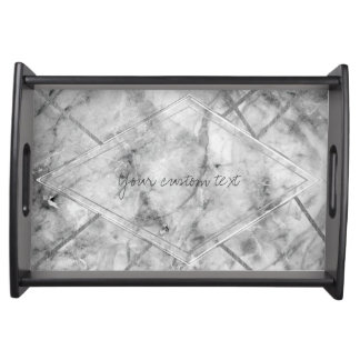 Grey & White Marble Glam Chic Elegant Designer Serving Tray