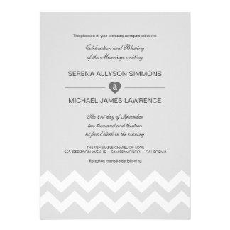 Grey & White Modern Chevron Wedding Invitations
