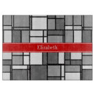Grey White Mondrian Style Red Ribbon Monogram Cutting Board