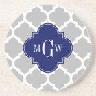 Grey White Moroccan #5 Navy 3 Initial Monogram Coaster