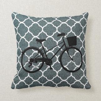 Grey white Pattern bicycle Bike art Decor  pillow