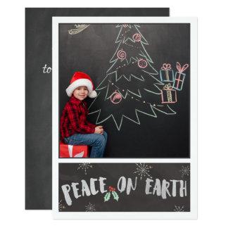 Grey & White/Peace on Earth/ Photo Christmas Card