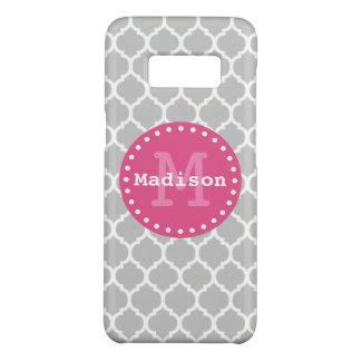 Grey White Pink Moroccan Lattice Monogram Case-Mate Samsung Galaxy S8 Case