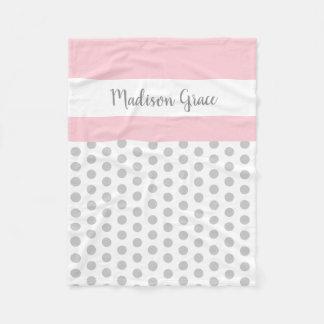 grey/white polka dots w pink/white; personalized fleece blanket