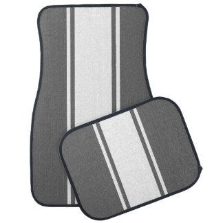 Grey & White Racer Stripe Car Mats Auto Mat